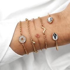 2019 Jewelry 5 Piece/set Bracelets Women's Fashion Personality Water Drop Stone gold one size