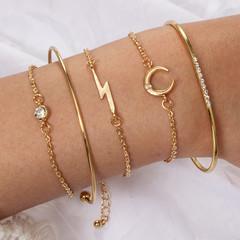 2019 Jewelry 5 Piece/set Bracelets Women's Fashion Lightning Moon Insert Drill Bracelet gold one size