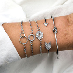 2019 Jewelry 5 Piece/set Bracelets Women's Fashion Bohemian Wind Alloy Knotted Arrow Ring Individual silver one size