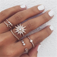 2019 Jewelry 6 Pieces/ Set Alloy Rings Women's Fashion Of Sunflower Rhinestone Ring gold 1.4cm-1.75cm