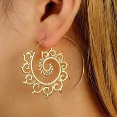 Mother's Day Jewelry Alloy Earrings Women's Fashion Retro Geometry Simple Drop Spiral Shape 01 one size