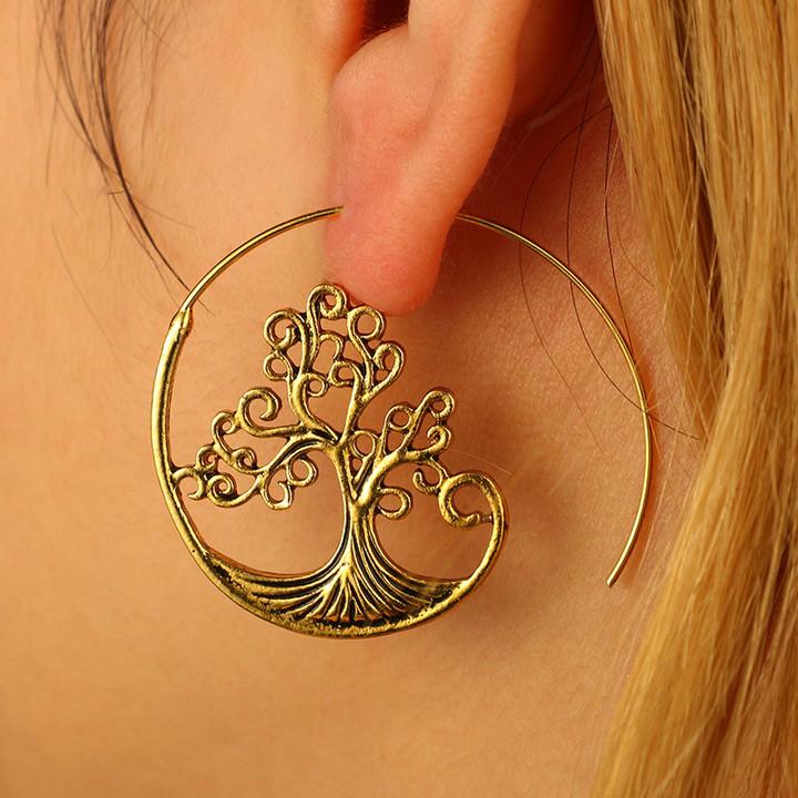 Jewelry Alloy Earrings Women's Fashion Retro Geometry Tree Simple Drop Spiral Shape gold one size