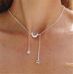 Mother's Day Jewelry Alloy Necklace Women's Fashion Star Necklace Girl's Single Layer silver one size