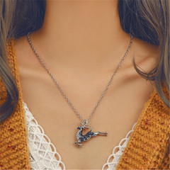 2019 Jewelry Necklace Women's Fashion Christmas Elk Dangling Lovely Deer silver one size
