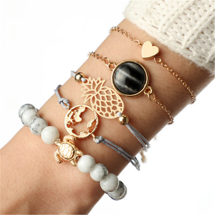 2019 Jewelry 5 Pairs/Set Bracelets Women's Fashion Accessories Jewellery Pineapple Love Black Pearl as picture one size