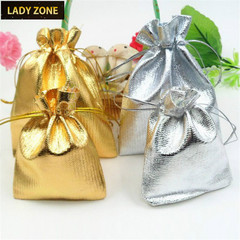 9*12cm Jewelry Bag Ring Bracelet Necklace Packing Bag Gold and Silver Gift Bag Part Classic gold 100pcs