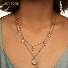 2019 Jewelry Necklace Women's Fashion Multi-layer Long Necklace With Diamond Stars And Moon gold one size