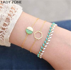 Jewelry 3 Pieces Sets Bracelet Women's Fashion Bohemian summer Cold Wind Irregular Wheat Ear Green as picture one size