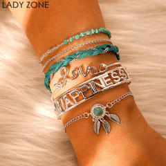 2019 Jewelry 5 Pieces Sets Bracelet Women's Fashion  Woven With Hollowed-out Turquoise as picture one size