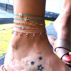 Women Ankle Chain Multilayer Women Anklets Women Jewellery Fashion Accessories as picture one size