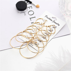 6 Pairs Fashion Jewellery Round Earrings Various Size Earrings Ladies Accessories Kilimall kenya 5th gold 2.1cm-4.8cm