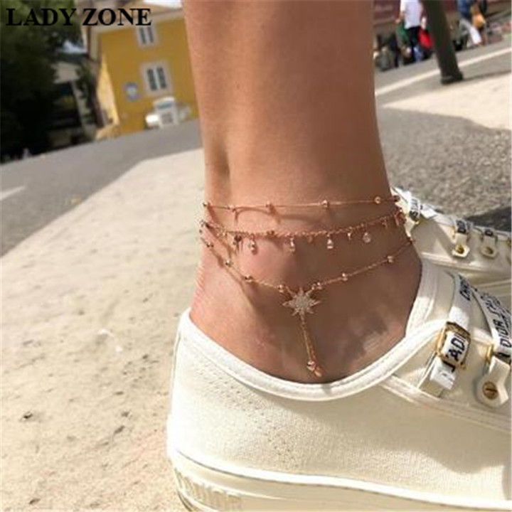 Kilimall kenya 5th Women Ankle Chain Multilayer Women Jewellery Fashion Accessories stars footchains gold one size