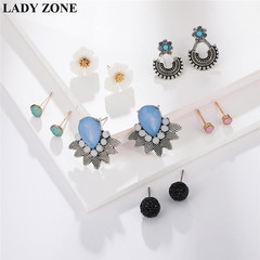 6Pairs Fashion Jewellery Round Earrings of Leaf gemstone Ladies Accessories Kilimall kenya 5th as picture one size