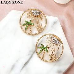 2019 Jewelry Alloy Earring Women's Fashion Round earrings Beach coconut Kilimall kenya 5th as picture one size