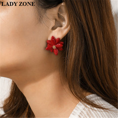 3PCS Alloy Earring Women's Fashion Personality kenya 5th Coloured Acrylic Flower Earrings Candy red+white+black one size