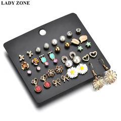 20 Pairs Fashion Stud Earrings Set For Women Elegant Mixed Crystal metal Ball Earrings Jewelry gold one size