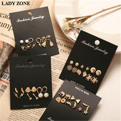 6 Pairs/Set Fashion Punk Crystal Stud Earrings For Women Vintage Jewellery 01 one size