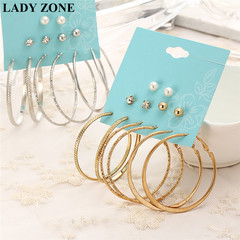 6 Pairs/Set Fashion Punk Crystal Stud Earrings For Women Vintage Jewellery silver one size