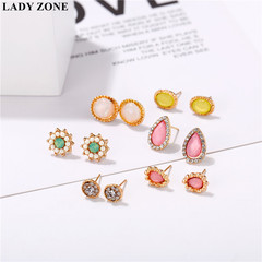 6 Pairs/Set Fashion Punk Crystal Stud Earrings For Women Vintage Jewellery as picture one size