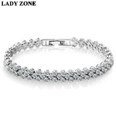 Women Full Rhinestone Crystal Alloy Bracelet Ladies Decor Exquisite Hand Chain silver one size