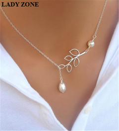 Simulated pearl Clavicle Chain For Women Party Wedding Plated Necklace Pendant silver one size