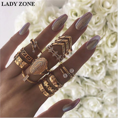 2019 Jewelry 13 Set Alloy Rings Women's Fashion Of V-shaped Flower inlay drill Kilimall kenya 5th gold one size