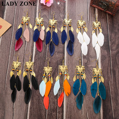Jewelry Fashion Earrings Colorful Feather Dangle Ladies Jewelry Women Accessories gift red one size