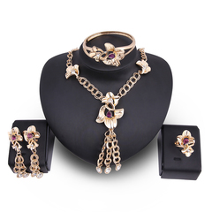5Pcs/set Crystal Necklace Earring Bracelet Ring Set Rhinestone Simple Party Dress Jewelry Flower as picture one size
