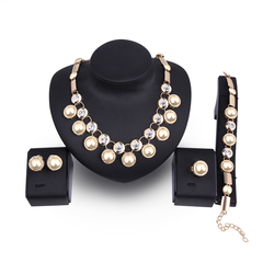 5Pcs/set Crystal Necklace Earring Bracelet Ring Set Rhinestone Simple Party Dress Jewelry Four as picture one size