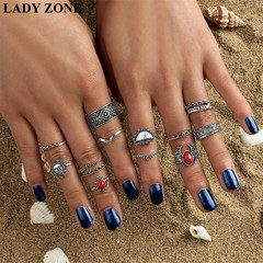2019 Jewelry 14 Set Alloy Rings Women's Fashion Women's Accessories as picture one size