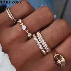 2019 Jewelry 6 Set Alloy Rings Women's Fashion Women's Accessories as picture one size