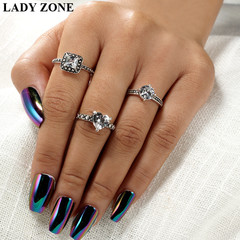 2019 Jewelry 3 Set Alloy Rings Women's Fashion Women's Accessories as picture one size