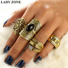 2019 Jewelry 4 Set Alloy Rings Women's Fashion Women's Accessories as picture one size