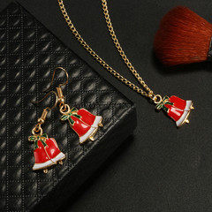 Christmas Gift Alloy Drop Bell Earring Necklace Set Combination Women's Accessories as picture one size