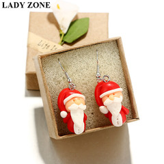 Christmas Gifts Cute Cartoon Santa Claus Handmade Soft Pottery Earrings Soft Pottery as picture one size