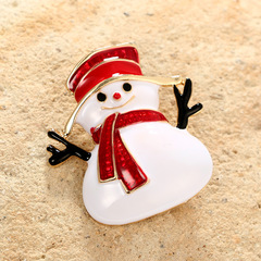 Christmas Gifts Santa Claus Halloween Cartoon Snowman Colored Oiled Alloy Brooch Brooch Button as picture one size