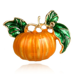 Halloween Creative Cartoon Golden Pumpkin Green Leaf Metal Alloy Pin Brooch as picture one size
