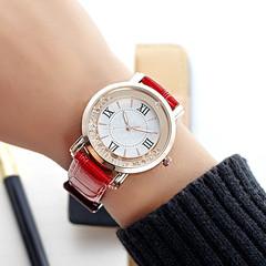 Fashion Wrist Watch Women Rhinestone Wristwatches Ladies Classic Luxury Quartz Watches red one size