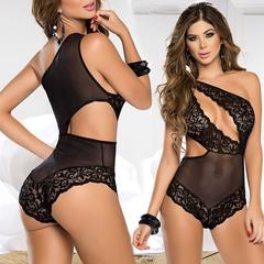 Sexy Lingerie Women Open Bra Erotic Babydoll Transparent Porn Sexy Integral Underwear black one size(50kg-70kg)