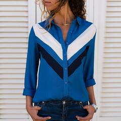 2019 Fashion Long Sleeve Collar Office Shirt Chiffon Blouse Shirt Casual Tops Plus Size 7361-blue XXXL