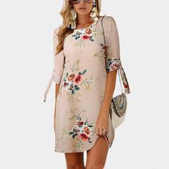 2019 Women Summer Dress Boho Style Chiffon Beach Dress Tunic Sundress Loose Mini Party Dress XXL khaki