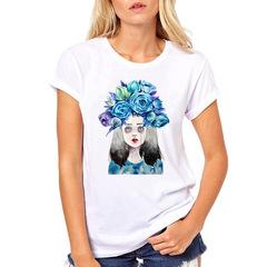 2019 Fashion Cool Print Female T-shirt Summer Casual Harajuku T Shirt Femme Top C018 XL