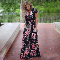 2019 Summer Long Dress Floral Print Boho Beach Dress Tunic Maxi Dress Women Evening Party Dress S nary blue