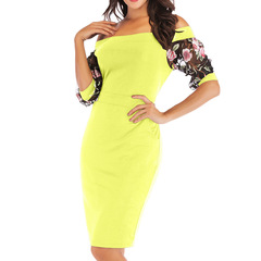 2019 New women's wide boat neck Embroidery lace sexy dresses plus size 2XL s yellow