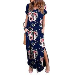 2019 Summer Women Printing short sleeve v-neck leisure dress xl w00255