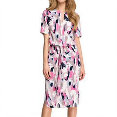 2019 Women Fashion printing split v-neck lace skirt mei red s