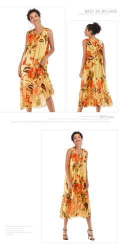 2019 New Women Fashion leisure sleeveless round collar chiffon dress l w00034
