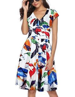 2019 New Women's Fashion Printed vest dress xxl white