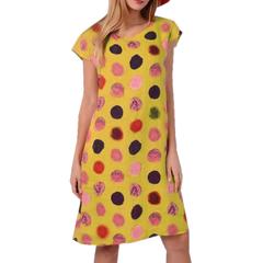 Kilimall Kenya 5th Women's Fashion Printed round collar wave point Bohemian dress 3xl yellow
