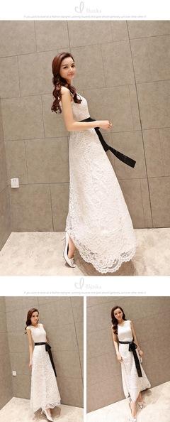 2019 New Women's Fashion Bohemia beach dress lace stitching white dress l white
